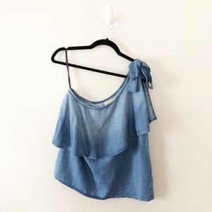 Anthro Cloth & Stone Chambray One Shoulder Top